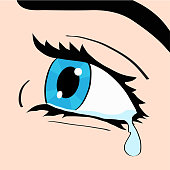 Close up of blue eye and tear, a woman crying, pop art comic style retro vector illustration