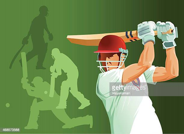 close up of cricket batsman batting with silhouettes - match sport stock illustrations, clip art, cartoons, & icons