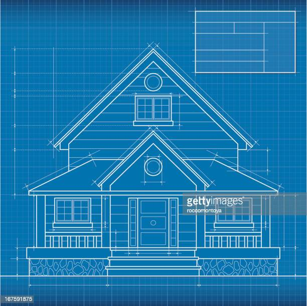 close up of digitally engineered house blueprint - blueprint stock illustrations