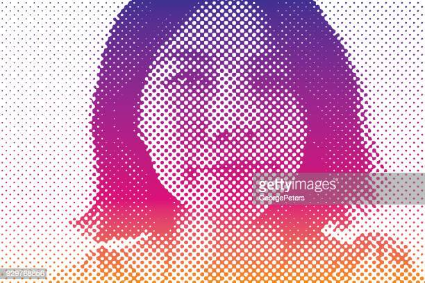 close up of east asian woman making funny expression - silk screen stock illustrations, clip art, cartoons, & icons