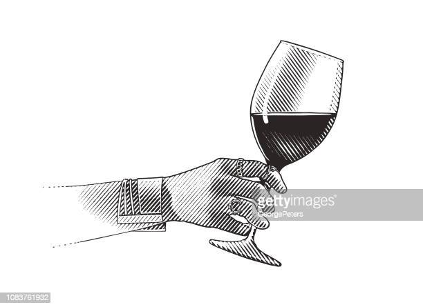 close up of glass of wine and woman's hand - engravement stock illustrations