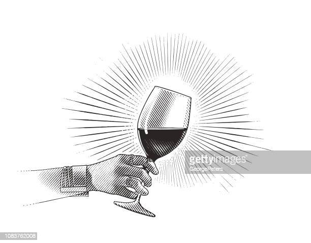 close up of glass of wine and woman's hand - red wine stock illustrations, clip art, cartoons, & icons