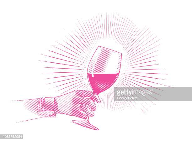 close up of glass of wine and woman's hand - wine stock illustrations