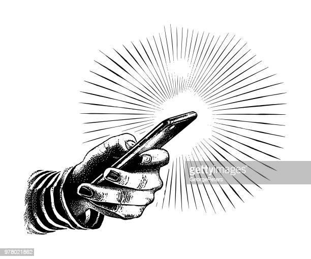 スマート フォンを持っている手のクローズ アップ - 彫り込み点のイラスト素材/クリップアート素材/マンガ素材/アイコン素材