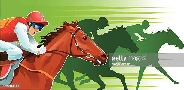 Grande plano de Corrida de Cavalos com silhuetas de fundo