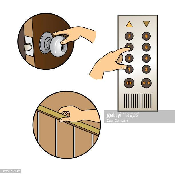 ドアノブ、エレベーターボタン、バニスターに触れる人間の手のクローズアップは、不健康なライフスタイルやウイルスのリスクのために使用します。 - ウイルス学点のイラスト素材/クリップアート素材/マンガ素材/アイコン素材