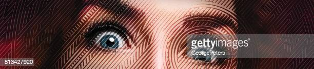 Cerca de los ojos de una mujer