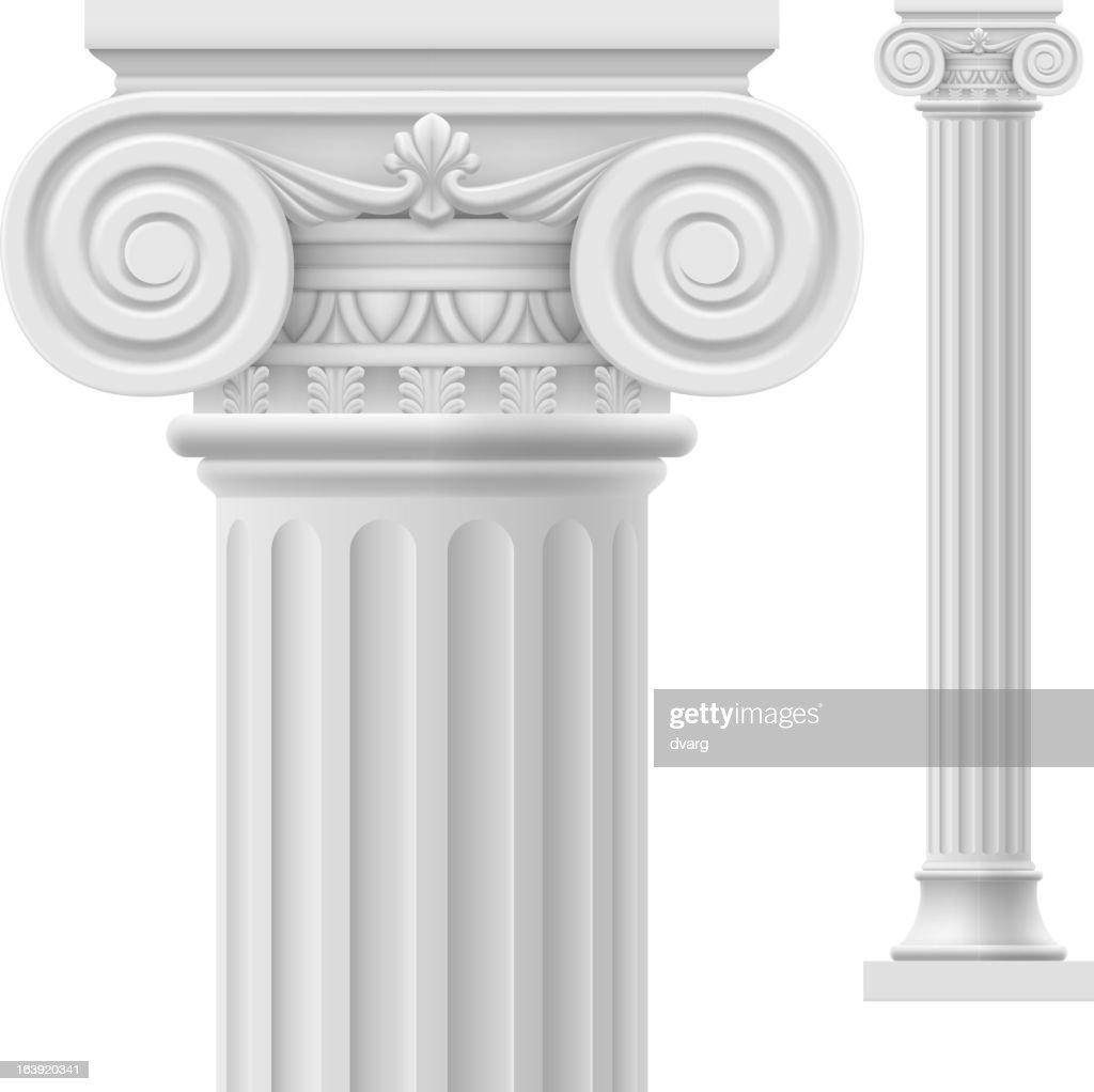 Close up of white Roman column