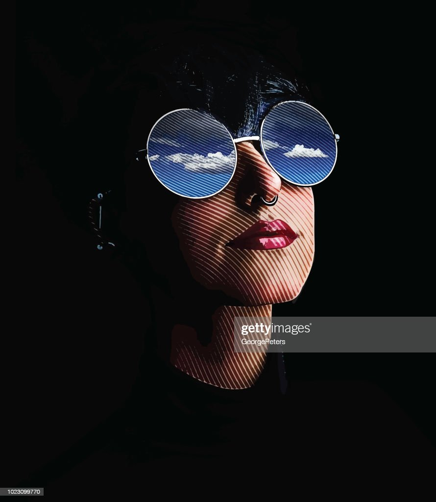 Close up of woman, sunglasses and reflection of sky and clouds : stock illustration