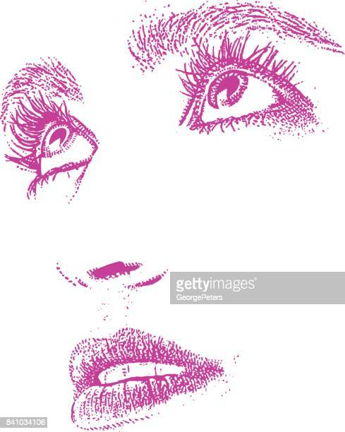 Close up of woman's eyes and mouth. Cut out.