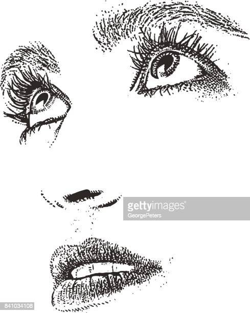 close up of woman's eyes and mouth. cut out. - pen and ink stock illustrations