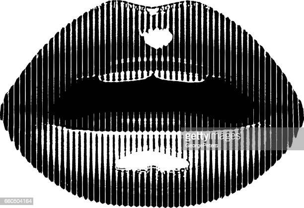 close up of woman's open mouth and lips - kissing on the mouth stock illustrations, clip art, cartoons, & icons