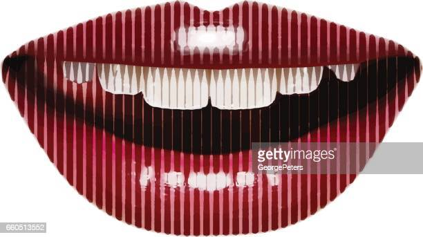 close up of woman's smiling lips - kissing on the mouth stock illustrations, clip art, cartoons, & icons