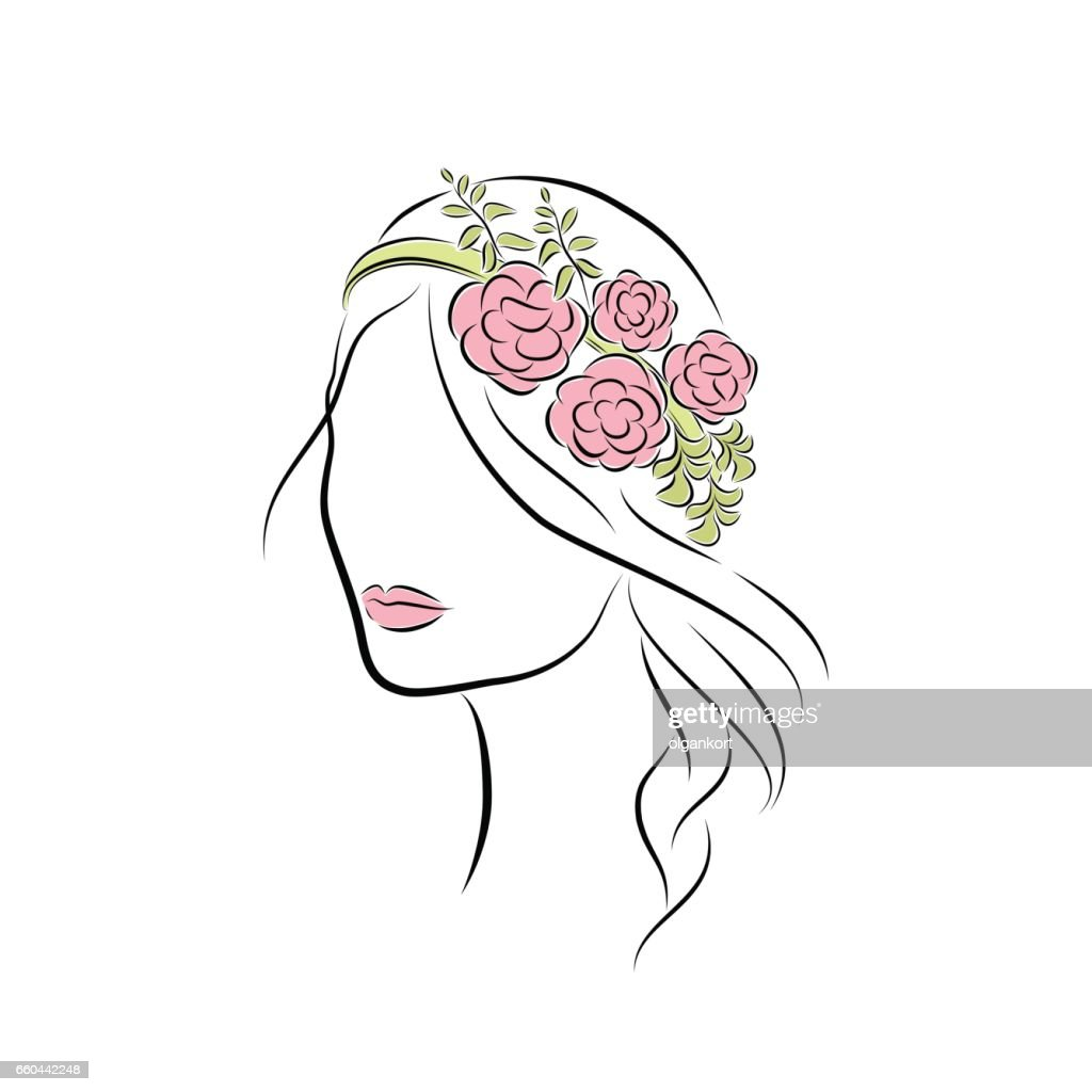 Close up portrait. Beautiful young girl with a flower headband. Bright lips painted on her face. Vector fashion sketch in hand drawing style for your design