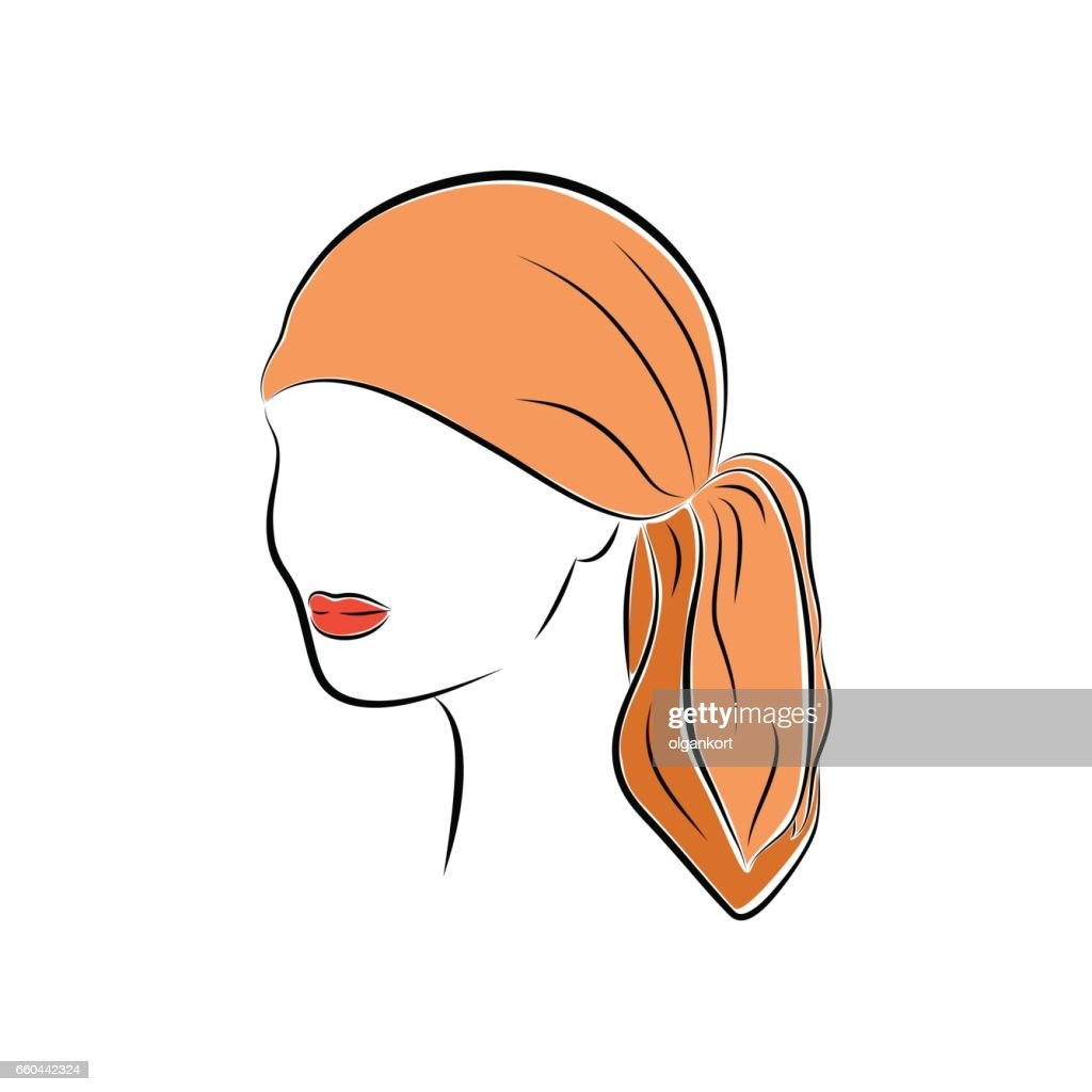 Close up portrait. Beautiful young woman in an orange head bandana. Bright lips painted on her face. Vector sketch in hand drawing style for your design.