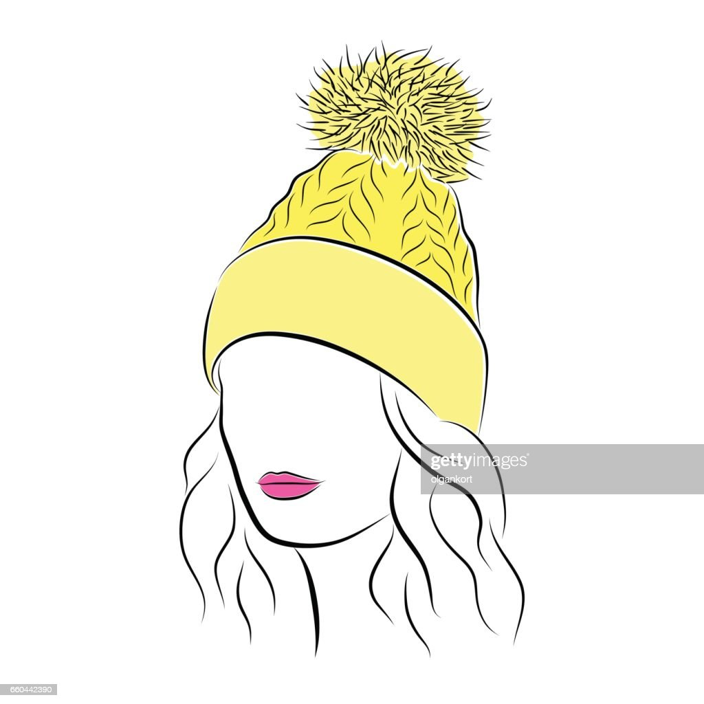 Close up portrait. Beautiful young woman in yellow knitted hat with pompom. Bright lips painted on her face. Vector fashion sketch in hand drawing style for your design.