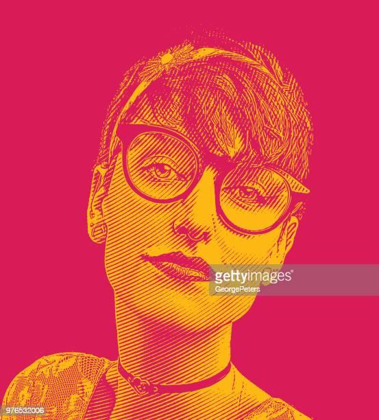 ilustrações de stock, clip art, desenhos animados e ícones de close up portrait of a nerd woman's face - mulheres jovens