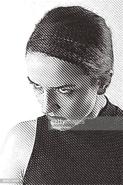 close up portrait of angry adult woman - conspiracy stock illustrations, clip art, cartoons, & icons