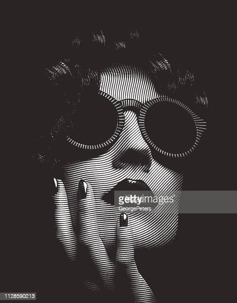 close up portrait of glamorous woman's face - actor stock illustrations, clip art, cartoons, & icons