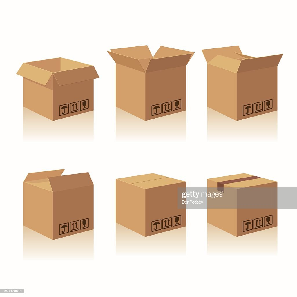 Closed and open carton delivery packaging box with fragile signs