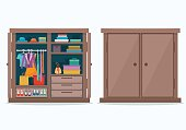 Closed and open cloths wardrobe.