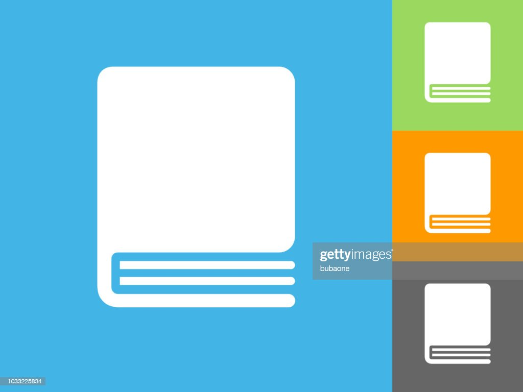 Closed Book Flat Icon on Blue Background : stock illustration