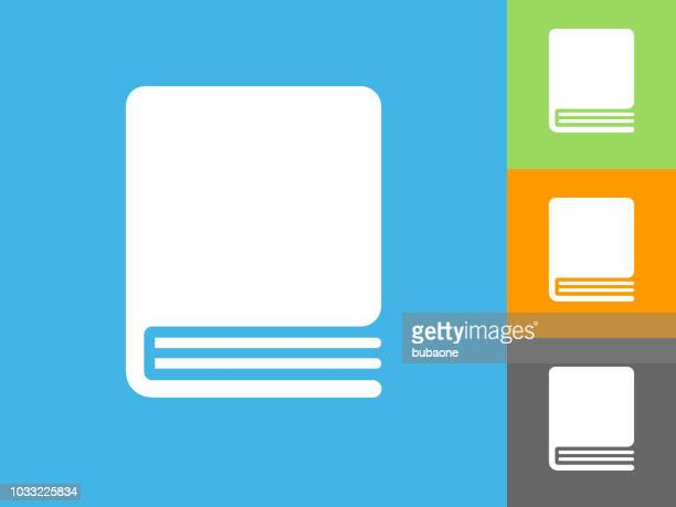 closed book flat icon on blue background - closed stock illustrations, clip art, cartoons, & icons
