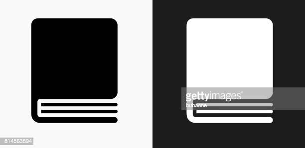 closed book icon on black and white vector backgrounds - closed stock illustrations, clip art, cartoons, & icons