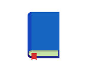 Closed book with blue cover red bookmark. Education flat vector isolated icon