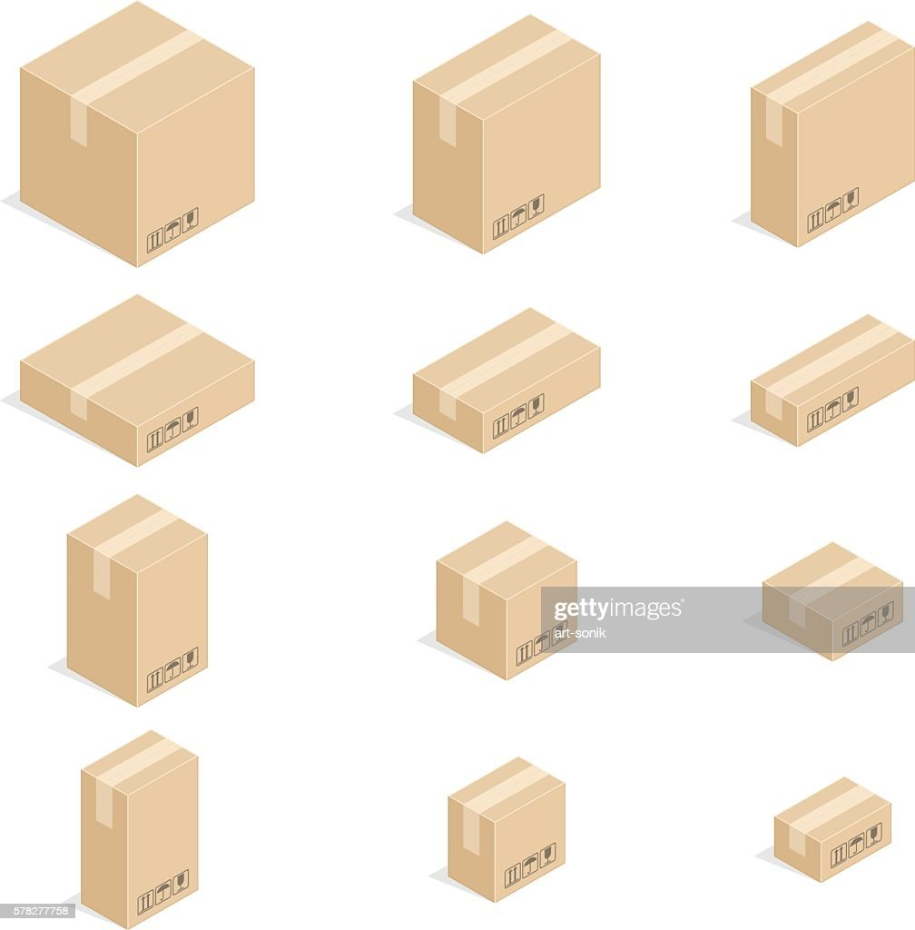 Closed cardboard boxes set