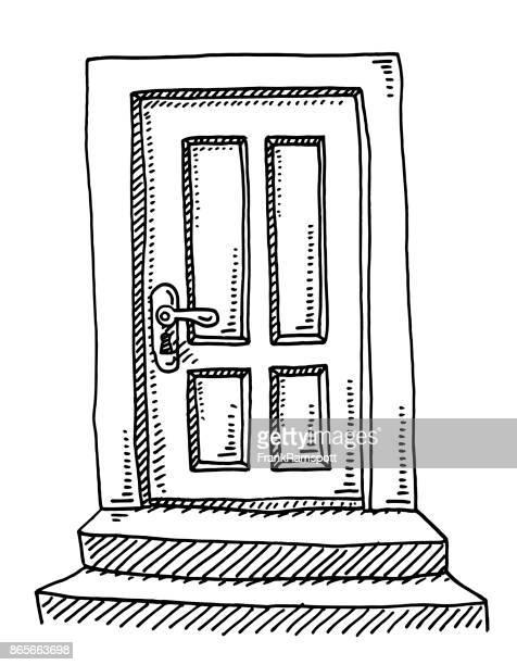 closed door drawing - door stock illustrations