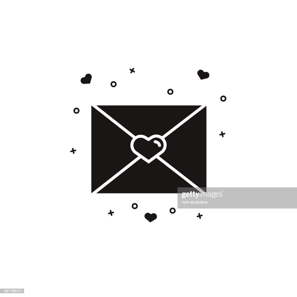 Closed Envelope With Heart Stamp Love Letter Black And White Icon On