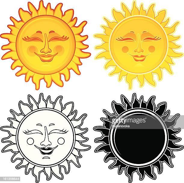 ilustraciones, imágenes clip art, dibujos animados e iconos de stock de cerrado los ojos sol (elementos de diseño - sol en la cara