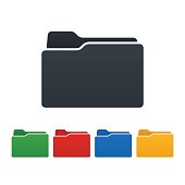 Closed folders on white background. Isolated vector illustration.
