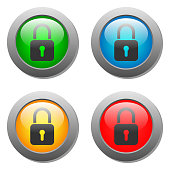 Closed lock icon on glass button set