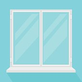Closed modern window. Vector flat cartoon illustration