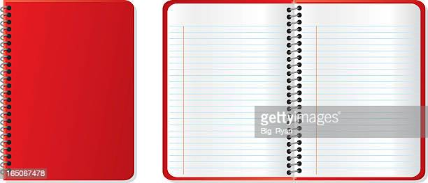 a closed red notebook next to an open red notebook - lined paper stock illustrations