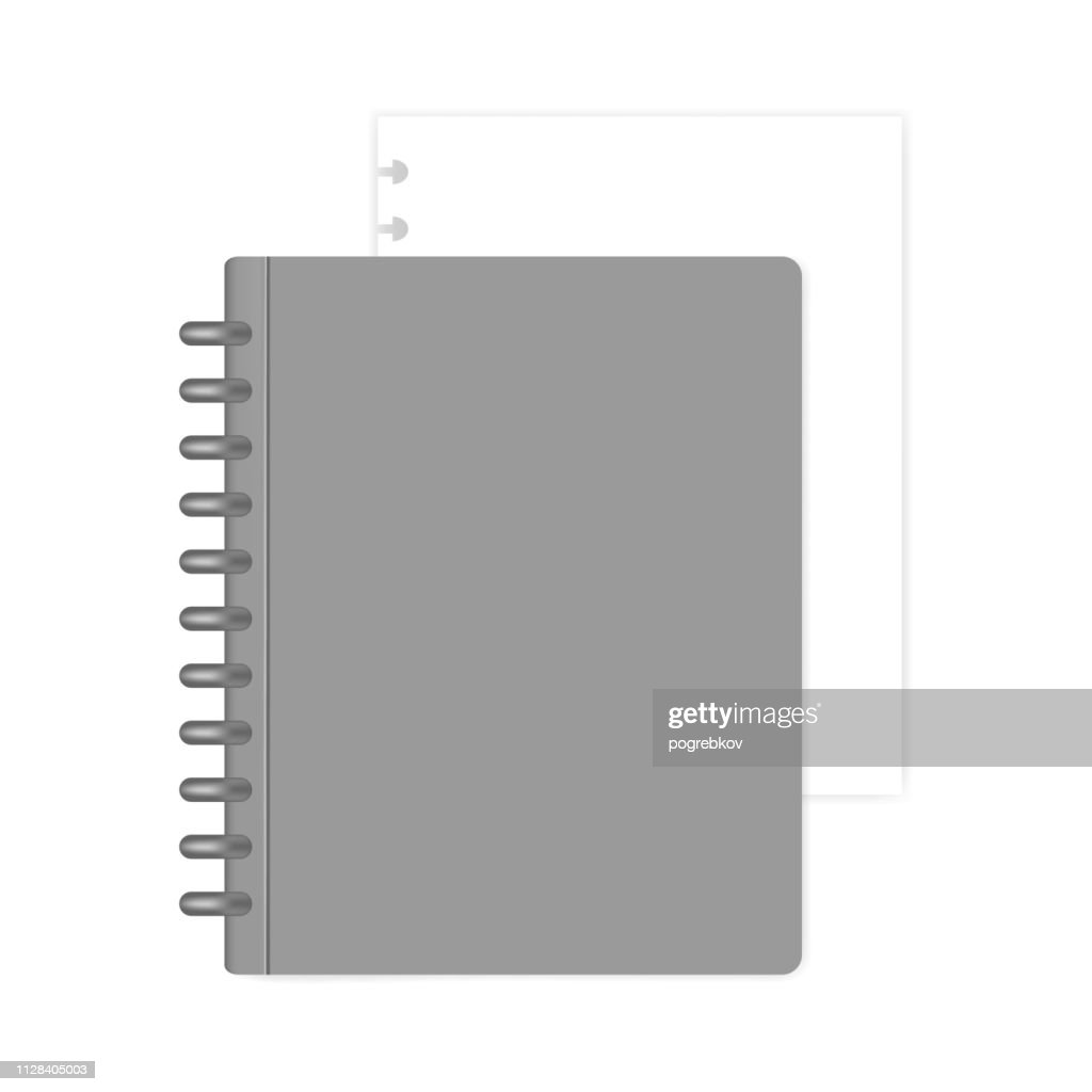 Closed refillable disc bound notebook with white paper sheet, mockup