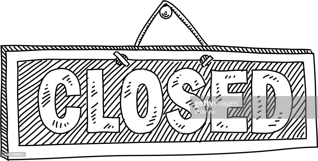Closed Sign Drawing : stock illustration
