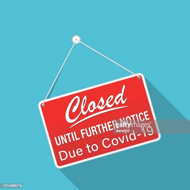 closed sign due to coronavirus virus - closed sign stock illustrations