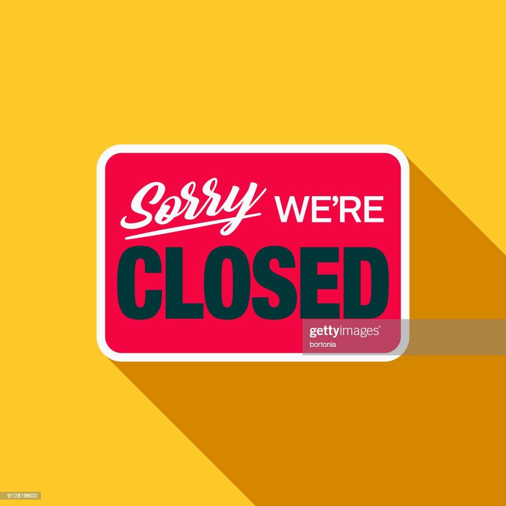 Closed Sign Flat Design E-Commerce Icon : stock illustration