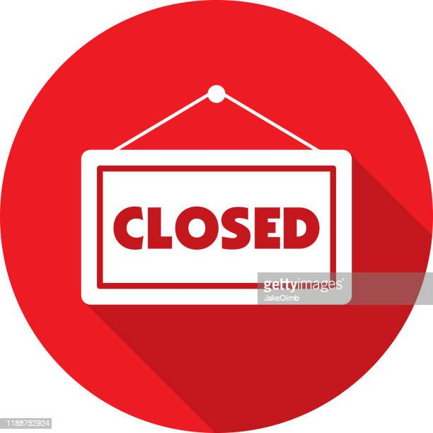 closed sign icon silhouette - closing stock illustrations