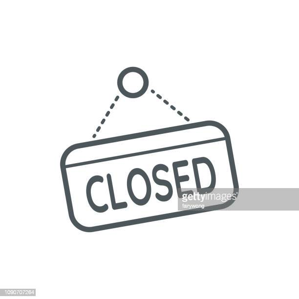 closed sign icon - closed sign stock illustrations, clip art, cartoons, & icons