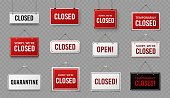 Closed sign. Information signboard with rope for business, site and service, cafe or restaurant. Covid 19 quarantine warning vector signs