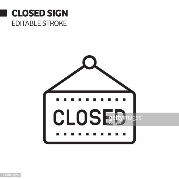 closed sign line icon, outline vector symbol illustration. pixel perfect, editable stroke. - closing stock illustrations