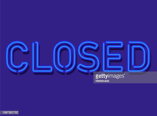 closed sign neon - closed sign stock illustrations