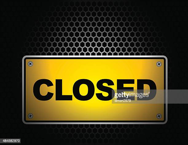 closed signboard with dark background - closed sign stock illustrations, clip art, cartoons, & icons