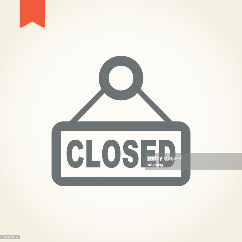 closed store sign icon : stock illustration