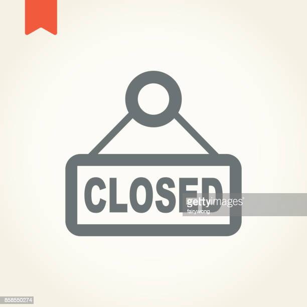 closed store sign icon - closed sign stock illustrations, clip art, cartoons, & icons