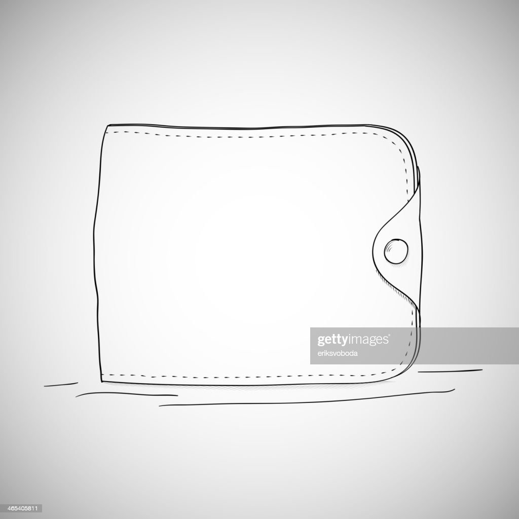 Closed wallet, hand drawn, sketch style on white background.